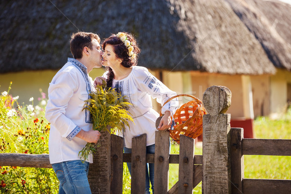 Romantikus fiatal pér csók kint stílus ruházat Stock fotó © photobac