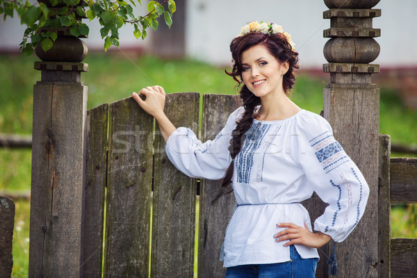 Young woman in Ukrainian style clothing outdoors Stock photo © photobac