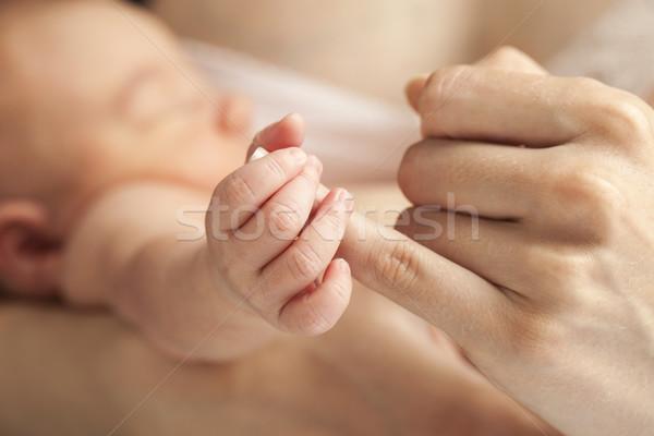 Recém-nascido bebê mães mão Foto stock © photobac