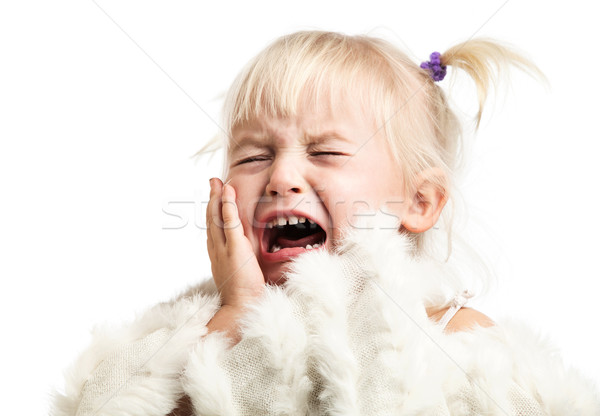 Meisje schreeuwen witte geïsoleerd oog gezicht Stockfoto © photobac
