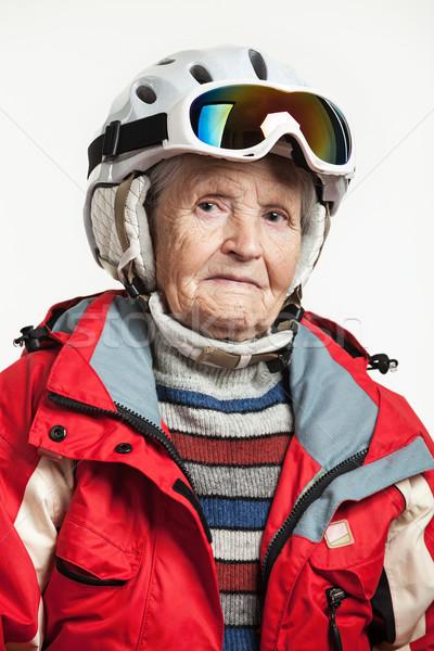 Retrato senior mulher esquiar jaqueta capacete Foto stock © photobac