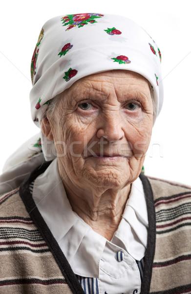 Portre kıdemli kadın beyaz gülümseme yüz Stok fotoğraf © photobac