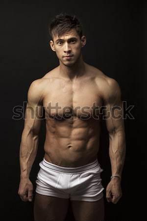 Foto stock: Muscular · moço · preto · retrato · sensual · sozinho