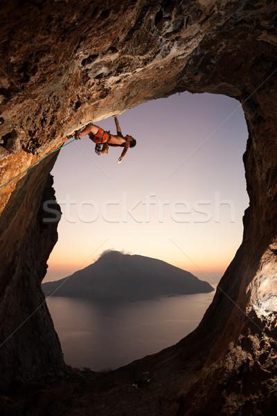 Kő naplemente sziget Görögország nő lány Stock fotó © photobac