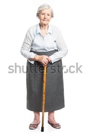 ストックフォト: シニア · 女性 · 徒歩 · スティック · 立って · 白