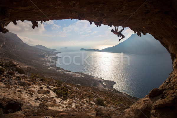 Silhouette of a rock climber Stock photo © photobac