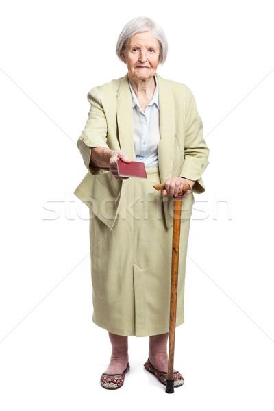Supérieurs femme passeport blanche permanent affaires Photo stock © photobac