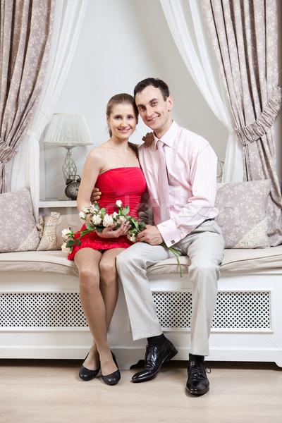 Feliz luxo interior posando mulher Foto stock © photobac