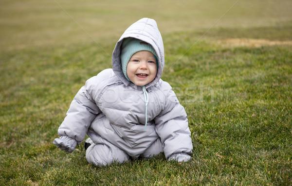 Sevimli küçük erkek bahar park portre Stok fotoğraf © photobac