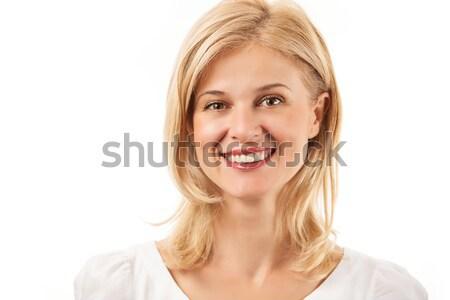 Feliz mulher jovem sorridente branco negócio cara Foto stock © photobac
