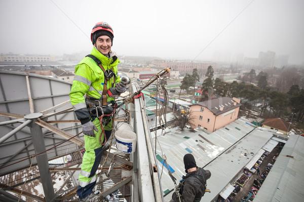 Endüstriyel Metal inşaat üst kış işçi Stok fotoğraf © photobac
