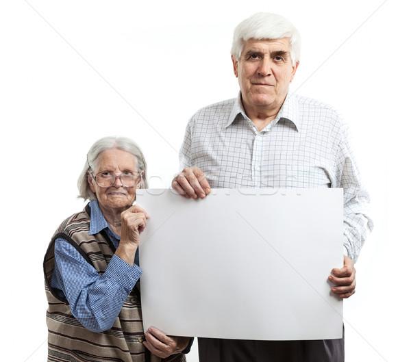 Senior vrouw man billboard volwassen man Stockfoto © photobac