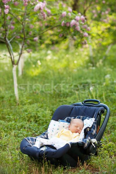 Erkek uyku araba koltuk açık havada Stok fotoğraf © photobac