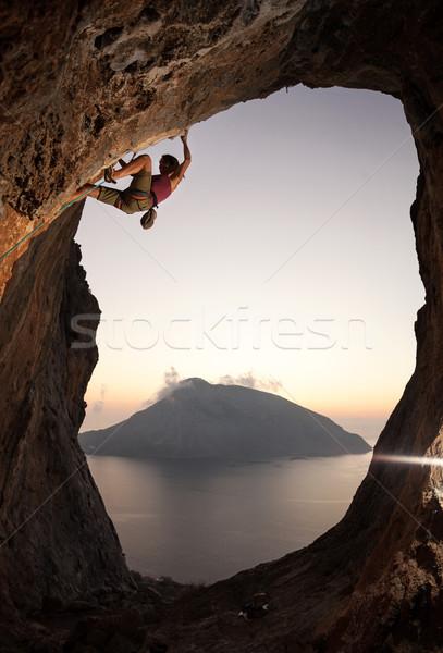 Female rock climber at sunset, Kalymnos, Greece Stock photo © photobac