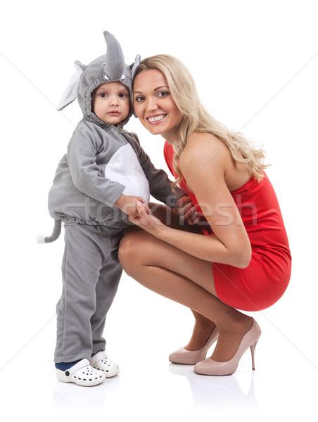 Elegante moeder baby jurk olifant witte Stockfoto © photobac
