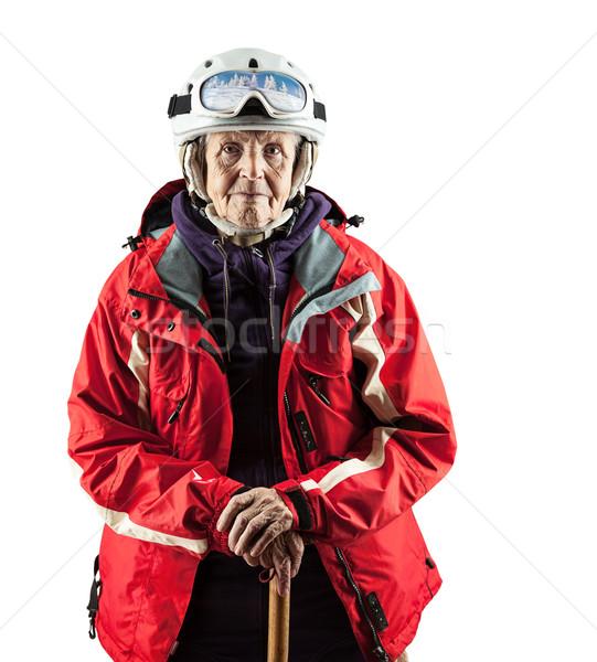 Сток-фото: старший · женщину · лыжных · куртка · шлема · белый