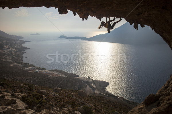 Family rock climber at sunset Stock photo © photobac