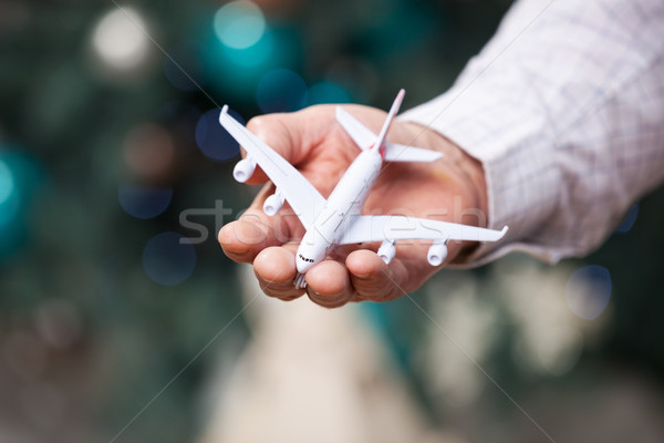Man hand model vliegtuig Stockfoto © photobac