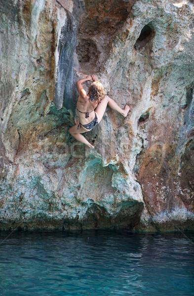 Stok fotoğraf: Genç · kadın · kaya · yüz · uçurum · derin