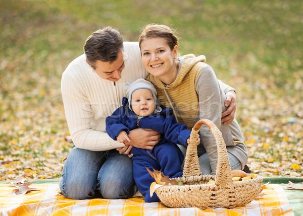 Bebê menino piquenique outono parque Foto stock © photobac