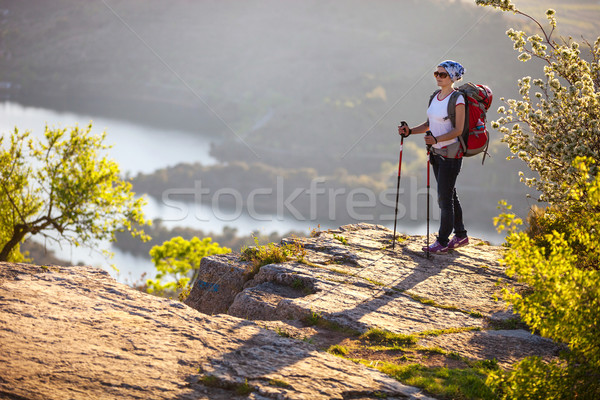 Hiker on cliff and enjoying valley view Stock photo © photobac