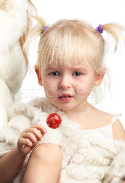 Pequeno choro menina doce branco cara Foto stock © photobac