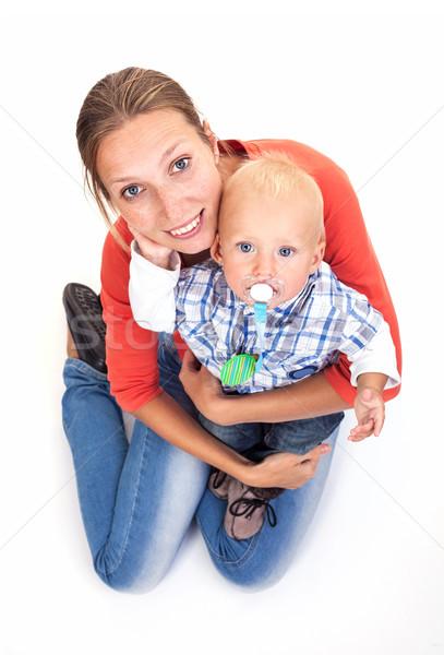 Jonge kaukasisch vrouw baby zoon witte Stockfoto © photobac