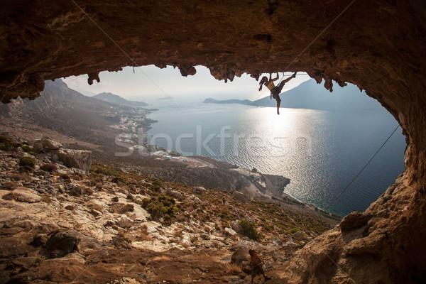Family rock climber at sunset. Kalymnos, Greece. Stock photo © photobac