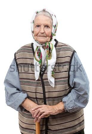 Portré idős nő fejkendő néz kamera Stock fotó © photobac
