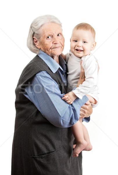 Retrato senior avó neto branco Foto stock © photobac