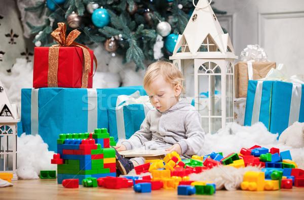 Stockfoto: Cute · jongen · vergadering · kerstboom · boek
