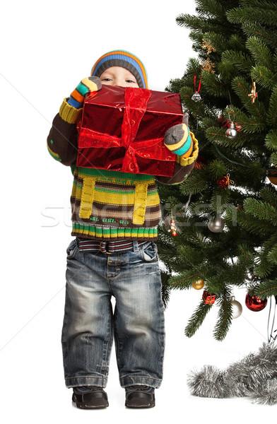 Aranyos kicsi fiú ajándék karácsonyfa fehér Stock fotó © photobac