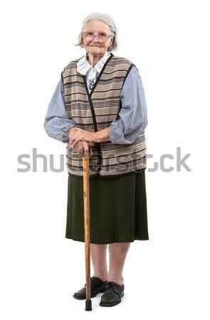 öregasszony sétapálca fehér haj élet női Stock fotó © photobac