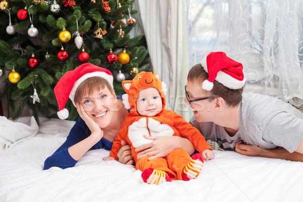 Jonge familie baby jongen vos kostuum Stockfoto © photobac