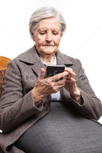 Foto stock: Senior · mulher · telefone · móvel · branco · negócio · sorrir
