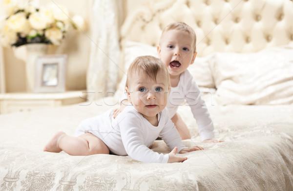Kettő baba fiúk játszik ágy otthon Stock fotó © photobac