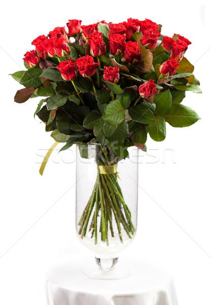 花束 赤いバラ 白 花 愛 葉 ストックフォト © photobac