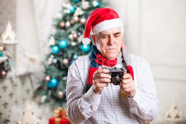 Kıdemli adam fotoğraf Noel mutlu Stok fotoğraf © photobac