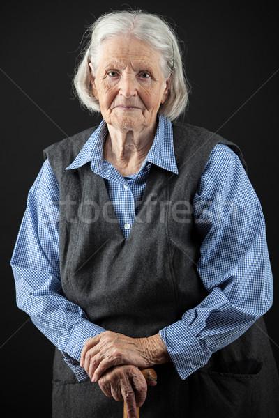 Portré mosolyog idős nő portré nő néz Stock fotó © photobac