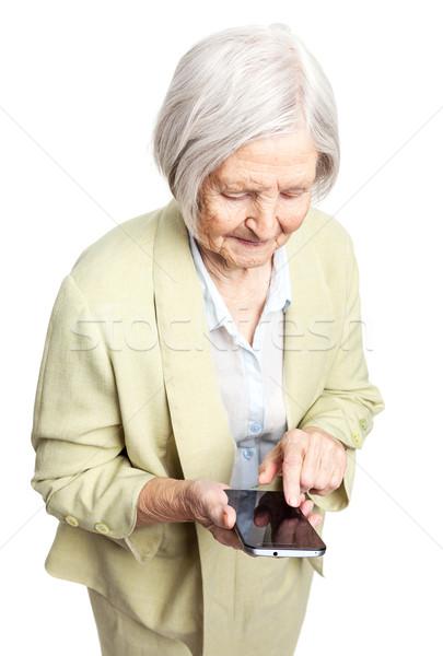 Foto stock: Senior · mulher · telefone · móvel · branco · em · pé · negócio