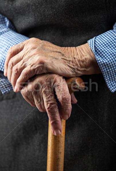 Stockfoto: Senior · handen · lopen · stick · houten