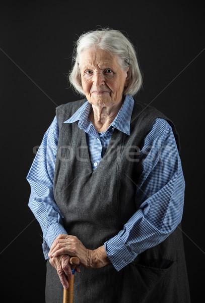 Portret glimlachend senior vrouw naar Stockfoto © photobac