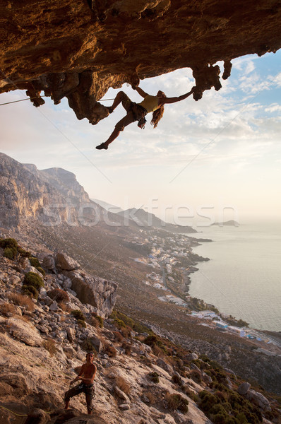 Rock climber at sunset, Kalymnos, Greece Stock photo © photobac