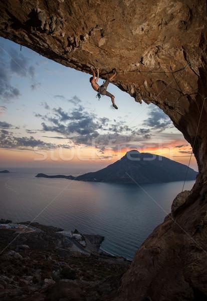 Male rock climber at sunset. Kalymnos, Greece Stock photo © photobac