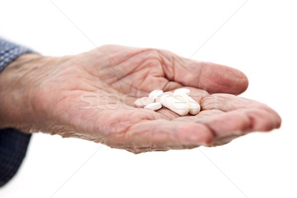 Closeup of senior hand holding medications Stock photo © photobac