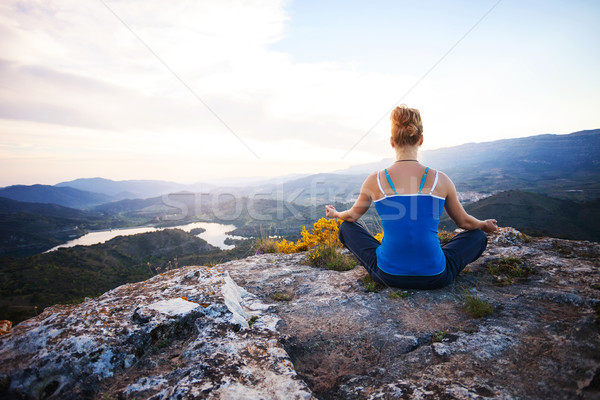 Genç kadın oturma kaya pozisyon vadi Stok fotoğraf © photobac