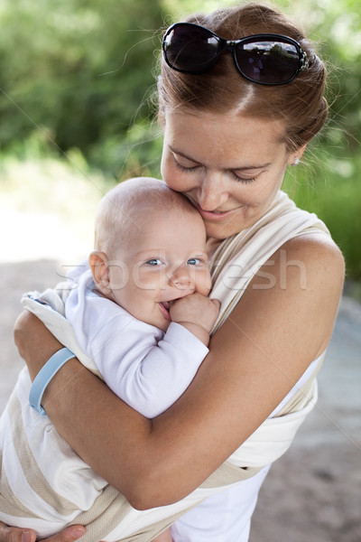 Stock fotó: Fiatal · kaukázusi · nő · baba · fiú · csúzli