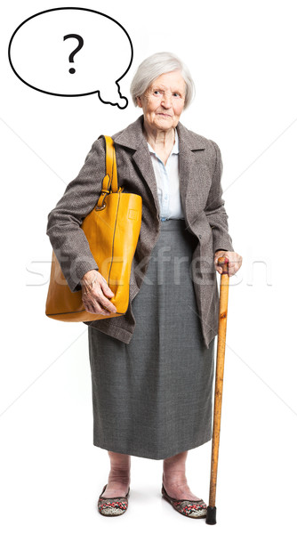 Pensativo altos dama burbuja de pensamiento blanco cara Foto stock © photobac