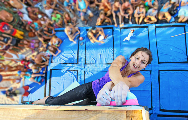 Female climber participating in competition Stock photo © photobac