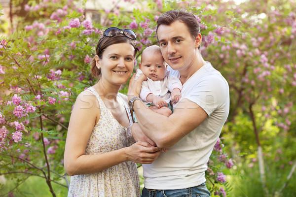 Recém-nascido filho primavera ao ar livre família Foto stock © photobac